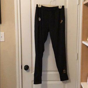 Black ASICS jogger warm up pants